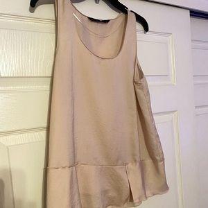 ZARA Silk/Satin-like Sleeveless Peplum Top. NWT.